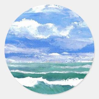 El despertar - productos del arte de las olas etiquetas redondas