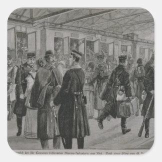 El despliegue de los infantes de marina reales de pegatina cuadrada