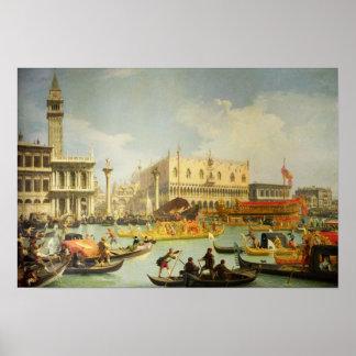 El desposorio del dux veneciano a Adriático Póster