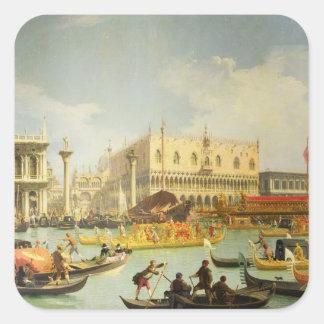 El desposorio del dux veneciano pegatina cuadrada