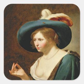 El desposorio: La novia, c.1630 Pegatina Cuadrada