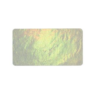 El destellar oro-verde etiqueta de dirección