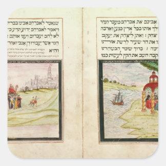 El destierro de Hagar y de Ishmael Calcomanía Cuadradase
