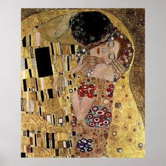El detalle del beso de Gustavo Klimt circa 1908 Posters