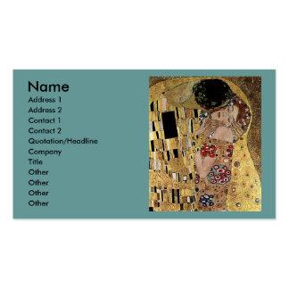 El detalle del beso de Gustavo Klimt circa 1908 Tarjetas De Negocios