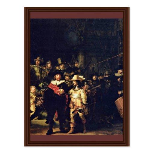 El detalle del guardia nocturna de Rembrandt Harme Postales