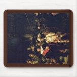 El detalle del guardia nocturna de Rembrandt Tapetes De Ratones