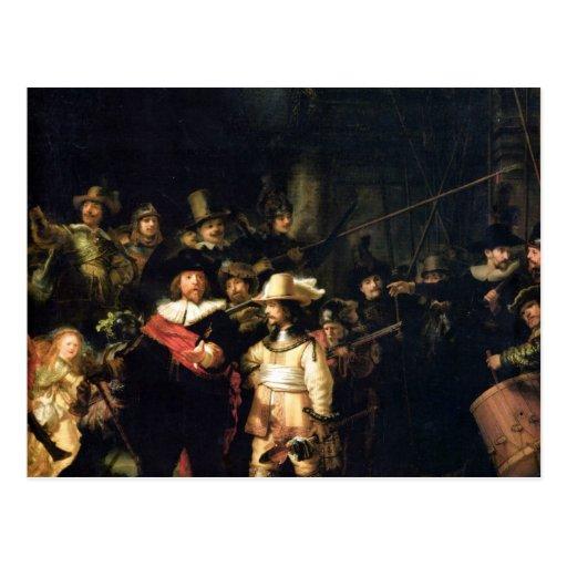 El detalle del guardia nocturna de Rembrandt Tarjeta Postal
