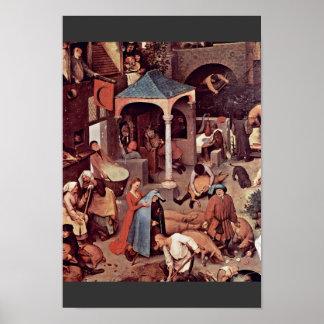 El detalle holandés de los proverbios por Bruegel Posters