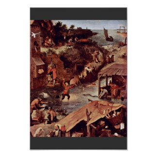 El detalle holandés de los proverbios por Bruegel  Poster