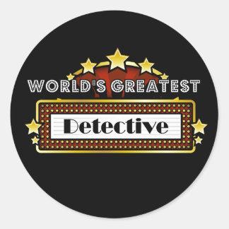 El detective más grande del mundo pegatina redonda