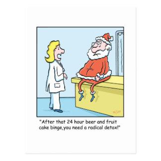 El Detox de Santa del dibujo animado del navidad Postal
