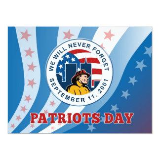 El día americano del patriota recuerda la tarjeta invitación 16,5 x 22,2 cm