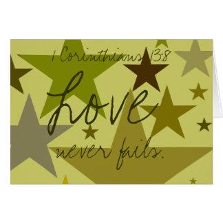 El Día-Amor del padre nunca falla 1 corazón. 13:8 Tarjeta De Felicitación