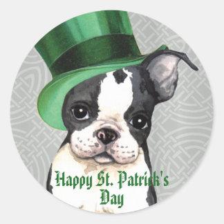 El día Boston Terrier de St Patrick Pegatina Redonda