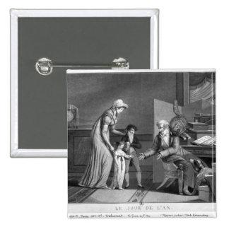 El día de Año Nuevo, 1807 Pin Cuadrado