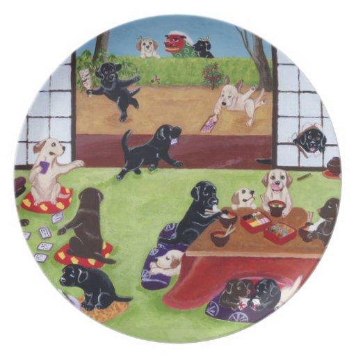 El día de Año Nuevo japonés Labradors Plato De Cena