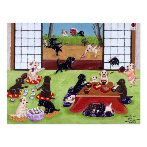 El día de Año Nuevo japonés Labradors Tarjetas Postales