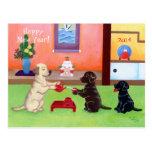 El día de Año Nuevo japonés Labradors Tarjeta Postal