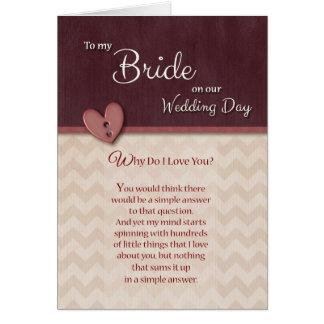 El día de boda a la novia - porqué lo haga te amo tarjeta de felicitación