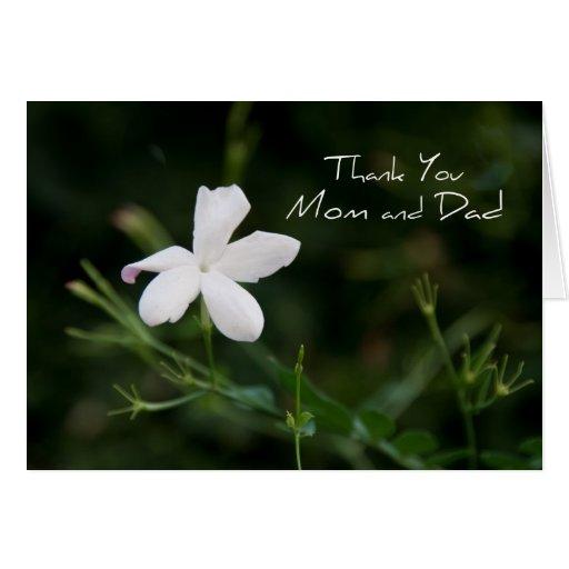El día de boda de los padres de la flor blanca le  tarjeta