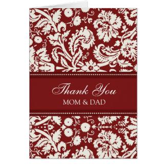 El día de boda de los padres le agradece el tarjeta de felicitación