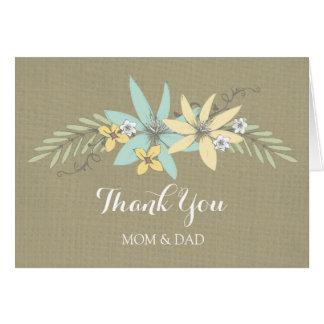 El día de boda de los padres le agradece primavera tarjeta de felicitación