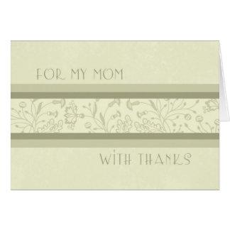 El día de boda floral azul de la mamá le agradece tarjeton