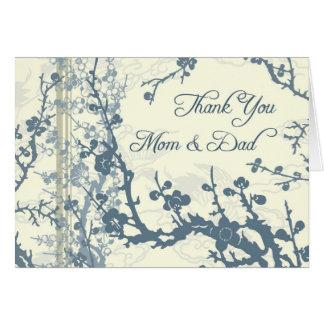 El día de boda floral azul de los padres le agrade tarjeta de felicitación