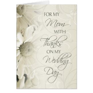 El día de boda floral blanco de la mamá le agradec tarjeton