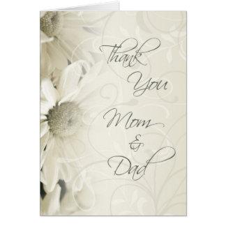 El día de boda floral blanco de los padres le agra tarjeta de felicitación