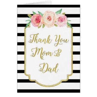 El día de boda floral negro de los padres del oro tarjeta de felicitación