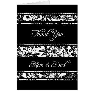 El día de boda floral negro de los padres le agrad tarjeta de felicitación