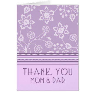 El día de boda floral púrpura de los padres le agr tarjeta de felicitación