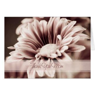 El día de boda floral rosado de la mamá le agradec tarjeta de felicitación