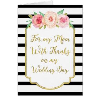 El día de boda floral rosado negro de la mamá del tarjeta de felicitación