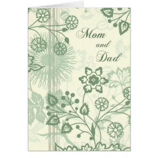 El día de boda floral verde de los padres le agrad tarjeta de felicitación