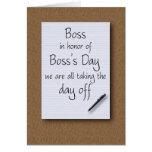 El día de Boss de empleados Felicitaciones