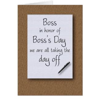 El día de Boss de empleados Tarjeta De Felicitación
