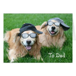 El día de dos padres fresco de los perros perdigue tarjetas