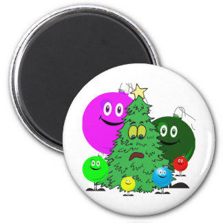 El día de fiesta adorna el cerco de un árbol de lo imanes para frigoríficos