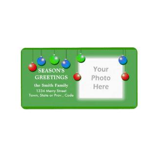 El día de fiesta adorna el marco ancho de la foto etiquetas de dirección