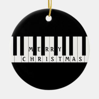 El día de fiesta cierra el piano adorno navideño redondo de cerámica