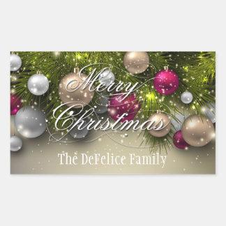 El día de fiesta del navidad adorna multicolor pegatina rectangular