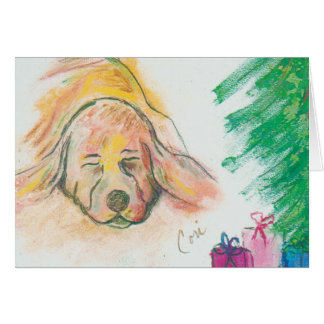 El día de fiesta dichoso soña navidad del perro de tarjeta de felicitación