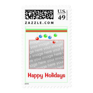 El día de fiesta feliz adorna el marco de la foto sellos