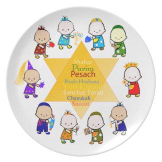 El día de fiesta judío embroma la placa de la cele platos de comidas