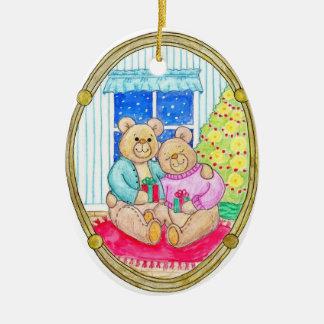 El día de fiesta lleva el ornamento del navidad adorno navideño ovalado de cerámica