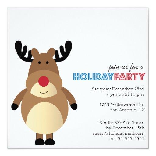 El día de fiesta moderno del reno lindo invita invitaciones personales