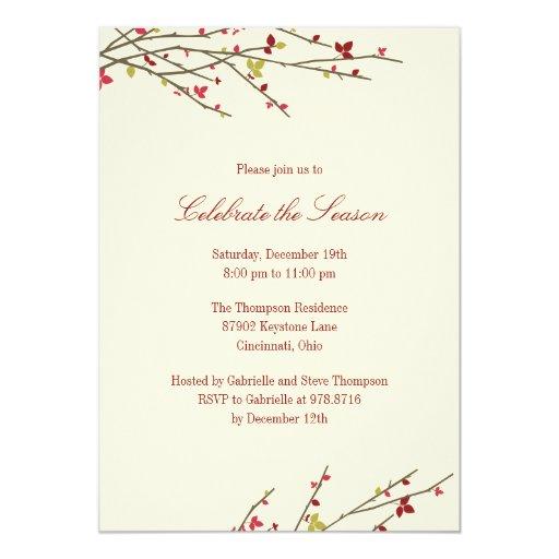 El día de fiesta ramifica invitación de la invitación 12,7 x 17,8 cm